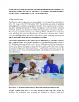 REPORT OF THE SENSITISATION WORSHOP FOR PRINCIPALS OF SECONDARY SCHOOLS IN FCT